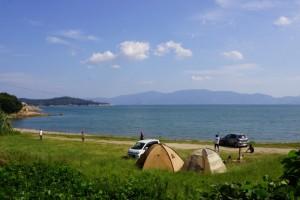 前島海水キャンプ場ーキャンプ風景ー