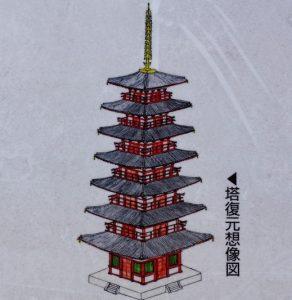 七重塔復元想像図ー備前国分寺跡ー