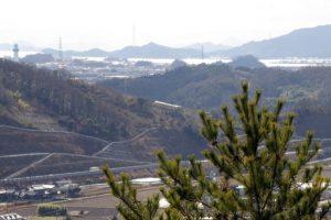 吉井川河口・乙子城跡方面ー高尾展望台よりー