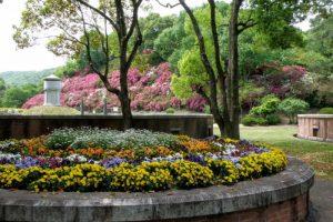 配水池と花壇ー岡山市半田山植物園ー