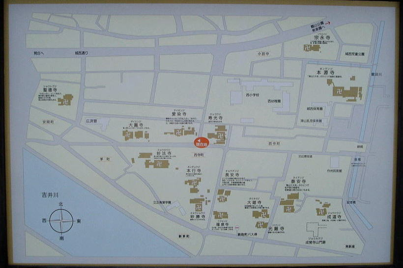津山西寺町界隈案内図