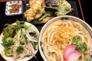 野菜天ぷらうどんとサラダーうどんとよ香ー