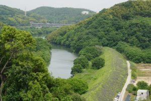小田川・高梁川合流点方面ー南山城跡よりー
