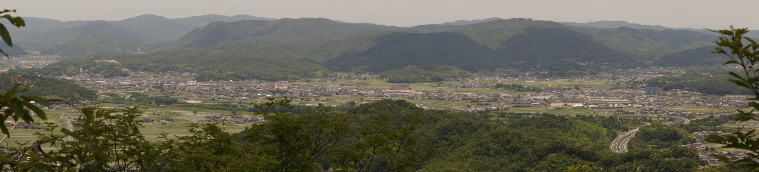 備中高松城水攻めの地方面パノラマー日差山山頂よりー