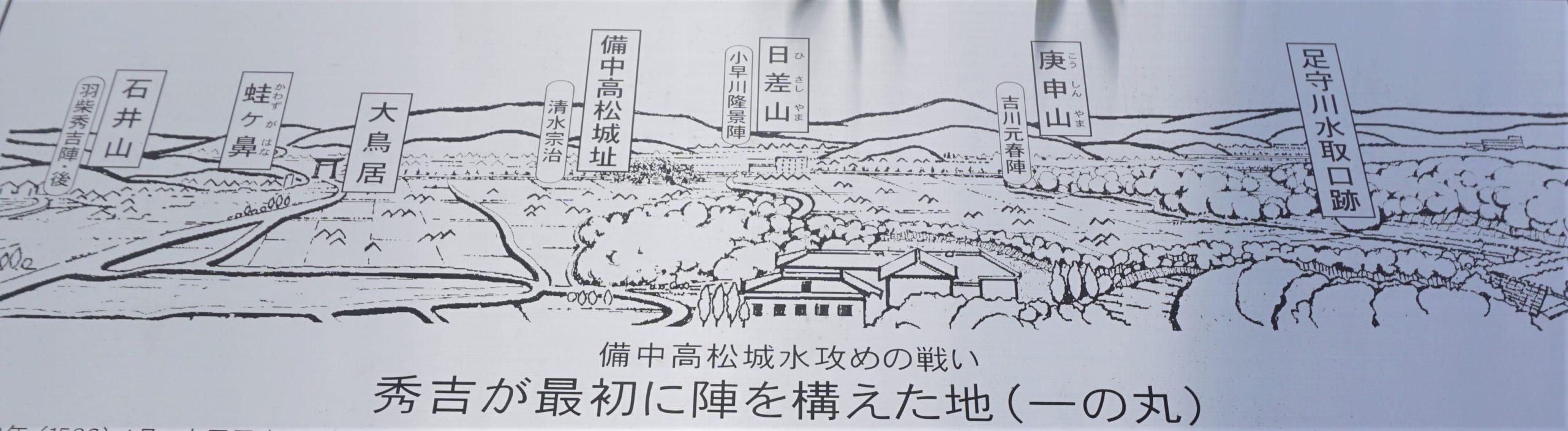 備中高松城水攻めの地案内図ー最上稲荷 一の丸よりー