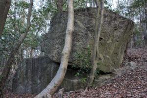 鏡岩の側面