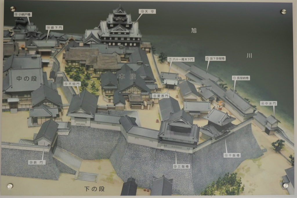 岡山城 本段模型の写真ー岡山市デジタルミュージアム所蔵 現地案内板ー